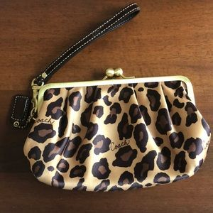 Coach animal print wristlet with patent leather